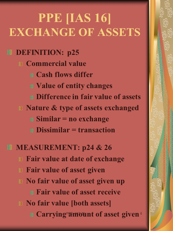 PPE [IAS 16] EXCHANGE OF ASSETS